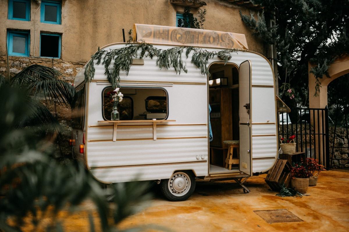Photobooth-Wagen bei einer Hochzeit auf Mallorca