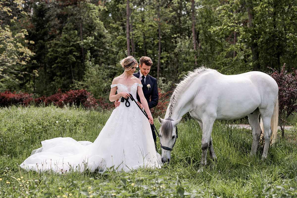 Brautpaar auf einer Wiese mit grasendem Pferd