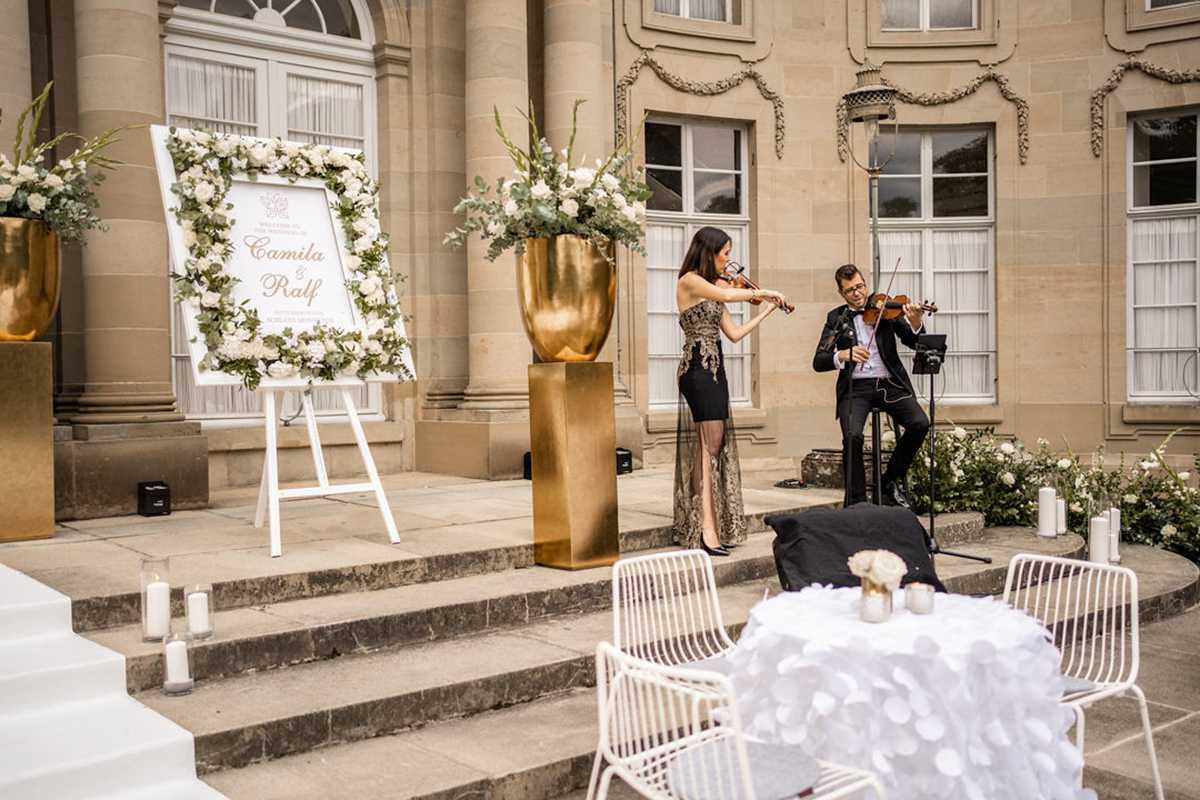 Hochzeitsempfang mit Violinisten
