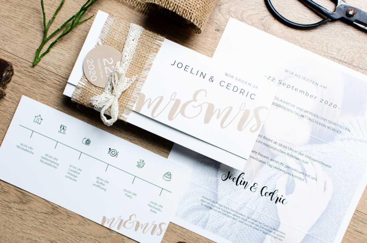 Hochzeitspapeterie Einladungskarte Tagesablauf Timeline
