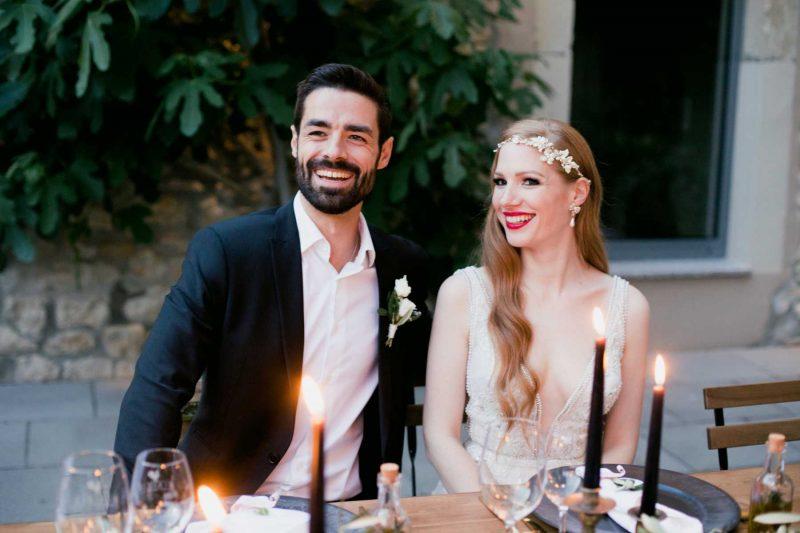 Brautpaar gedeckter Tisch mediterrane Hochzeit